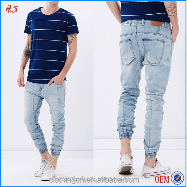 2016 New Design Custom style Men's Jeans Jogger Pants Wholesale Denim Jeans Pants