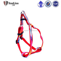 Red nylon webbing with colorful ribbing Freedom No Pull Dog Harness and leash