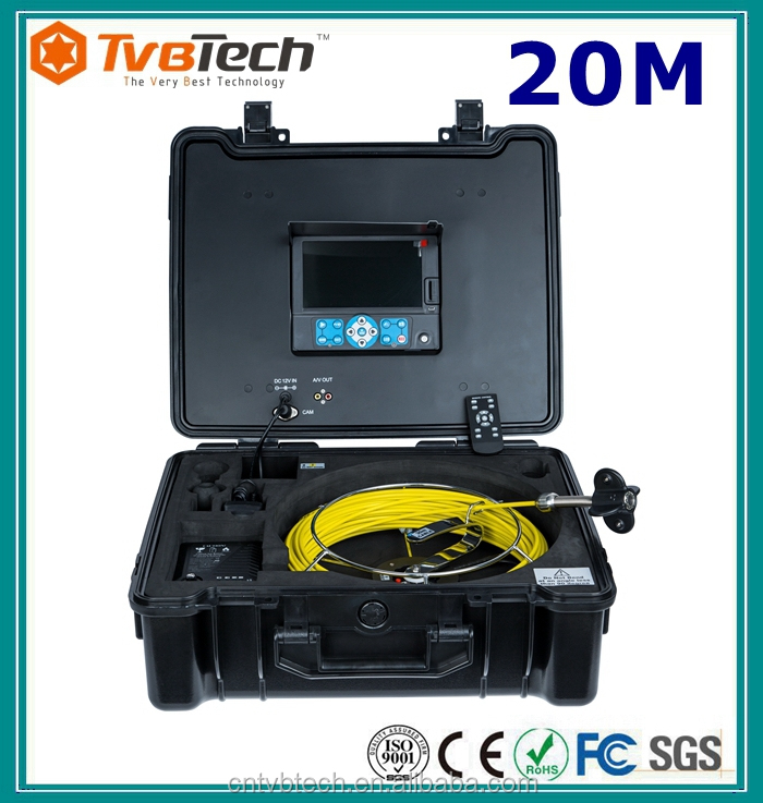 Pipe Sewer Camera Kit Inspection With 20M Cable 7inch Monitor ABS Carrying Case, Meter Counter