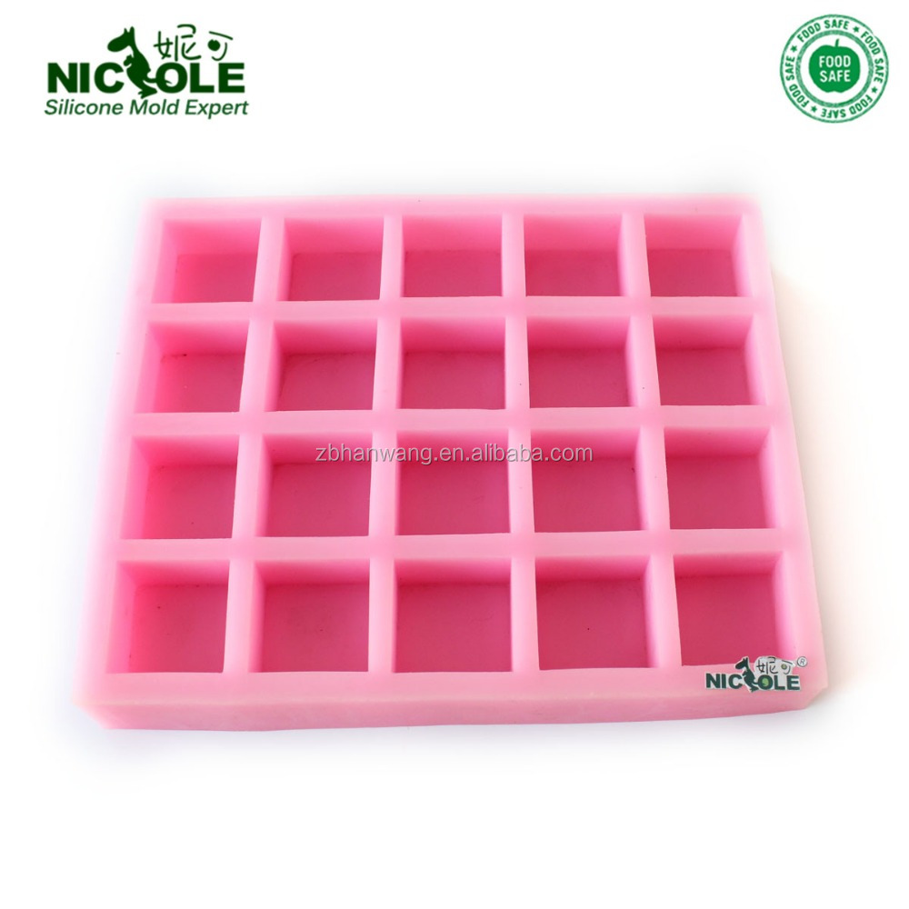 DIY R0408 20 holes 3d handmade basic square soap silicone rubber <strong>mould</strong>