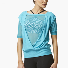 unique high neck loose fit sports wear stretch reversible yoga t-shirts