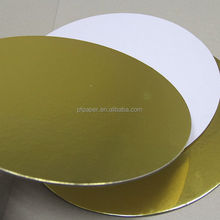 Gold and White round cake drum board