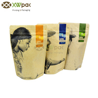 500g Customized Printing Food Coffee Brown Kraft Paper Bags with Valve