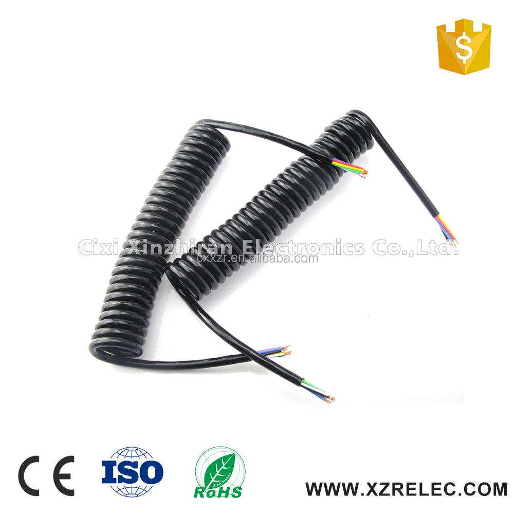 High Quality 12V/24V 7-pin Black Spring Trailer Cable