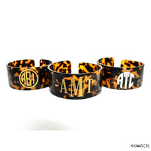 Chunky Tortoise Acrylic Monogram Bangle Personalized Fashion Jewelry Monogrammed Cuff Bracelet