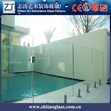 Cheap tempered glass fence panels,exterior wall of toughened glass, prevent broken