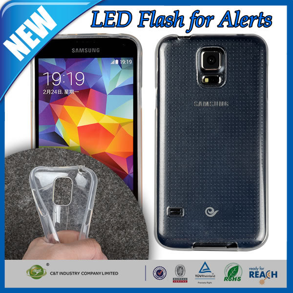 C&T Smart design clear led flash for alerts soft tpu gel fit case for samsung galaxy s5