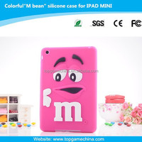 Silicone case for tablet pc iPad mini rainbow bean funny case