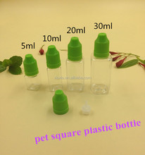 square empty 5ml 10ml 20ml 30ml transparent pet dropper liquid bottle for malaysia 555 oil