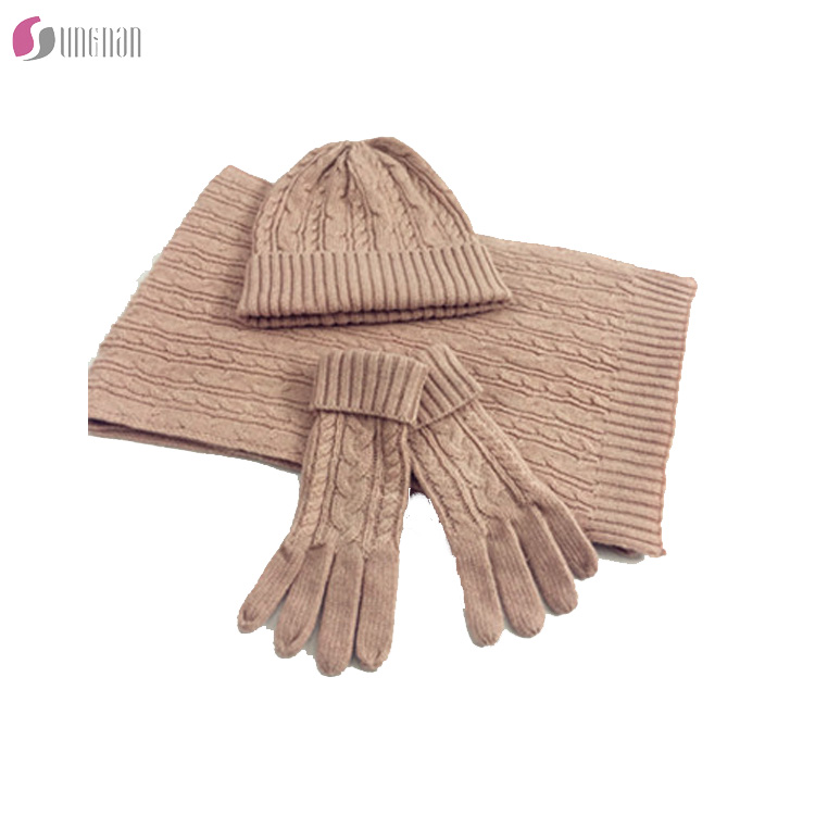 2017high quality hot sell plain color warm soft cable knitted 3 piece woman hat scarf and gloves set