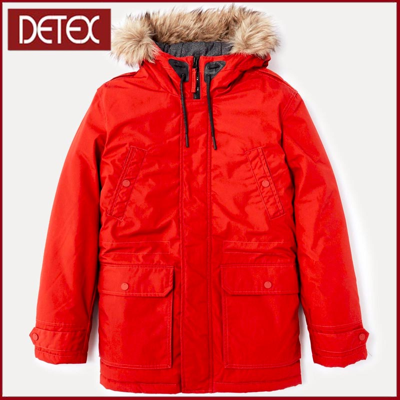 Online Shopping Imitation Fur Hooded Red Winter Man Parka Coat