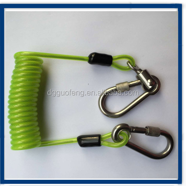 Green New Coil spring Tether Cable lanyard