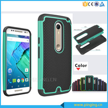 Wholesale pc silicone hybrid combo rugged football textures back cover for motorola moto x style shockproof case
