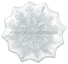 Small Clear Glass Frost Plate With Silver Painted Motif, Set of 2 glass plate