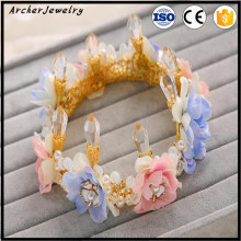 wedding Decoration Pearl diamond Garland Rose Flower bride Hair band Bride Wedding crown HA-458