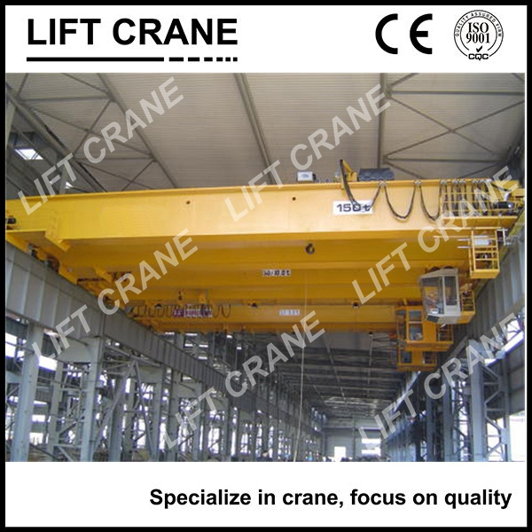 QD double girder workshop crane 200 ton with 50 ton trolley and Aux crane hook for sale