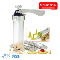 Shule Manual Aluminum Cookie Press with 20 die plates and 4 nozzles