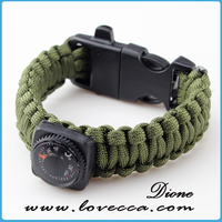 fashion olive green color custom paracord bracelet with whistle buckle different types of paracord bracelet