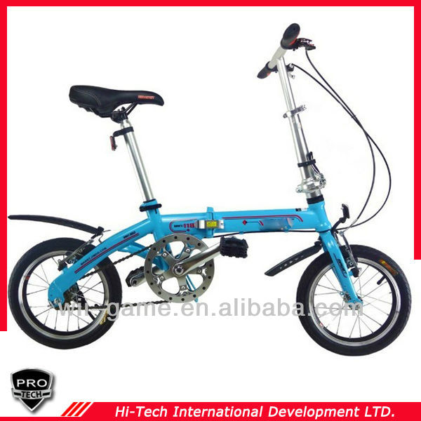PTOB-K57 High quality Blue 14 inch folding bikes portable double folding bicycles