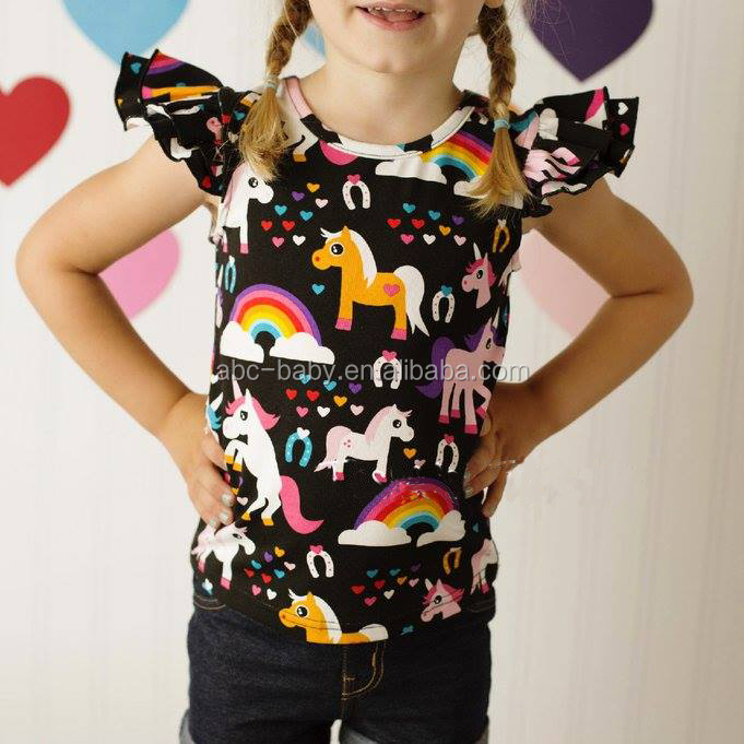 New Fashion Girls Tops Boutique Girl Clothing Flutter Sleeve Baby Shirt