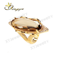 2016 trendy brass smoke color clear glass rings, metel factory price ring XYS100204-R