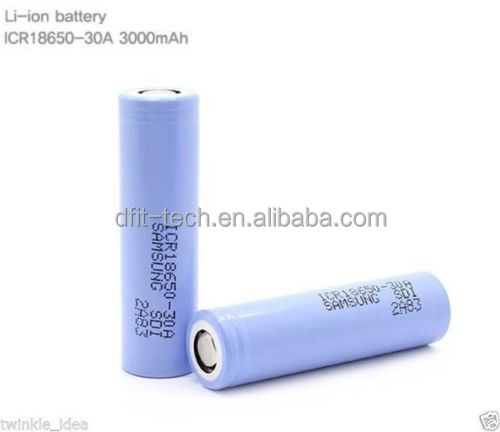 Ecig 18650 samsung 30A 3.7V 3000mah lithium battery 18650 samsung icr 3000mah battery icr 30a high discharging rate battery