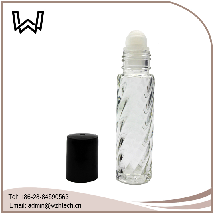 1/3 oz Swirl Roll-on Perfume Bottle with Plastic Cap