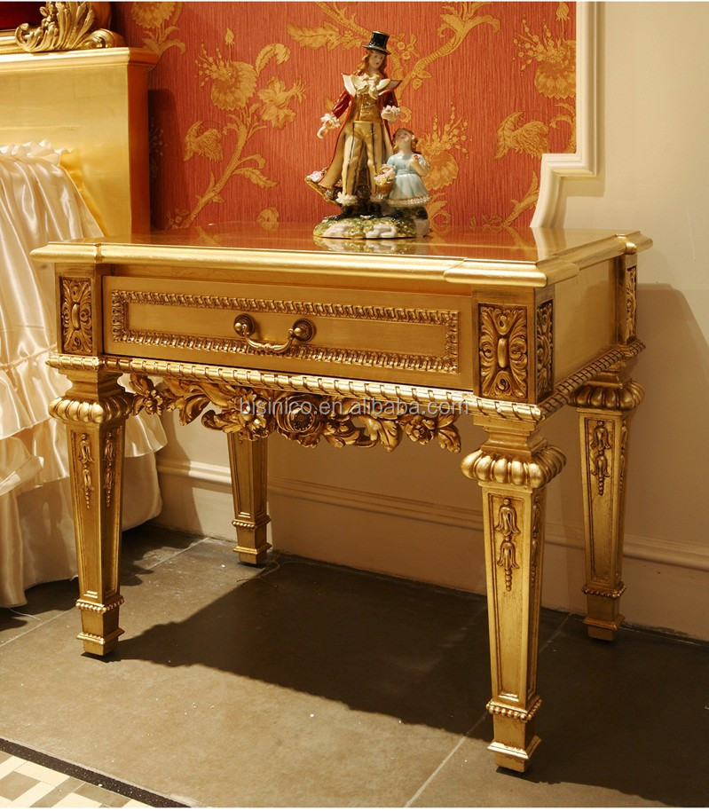 French Baroque Design Gold Leaf Wooden King Size Bed/ Antique Vivid Carving Golden Wedding Rose Bed/ Classic Bedroom Furniture