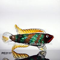 Shiny Gold Fish Ornament Art Glass