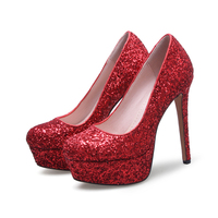 SP1705 Red Glitter Upper High Heel wedding Shoes Round Toe Thin Heels Platform Formal Dress Shoes