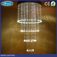 Hotel pmma modern crystal lobby chandelier light pendant light with 8 colors changing