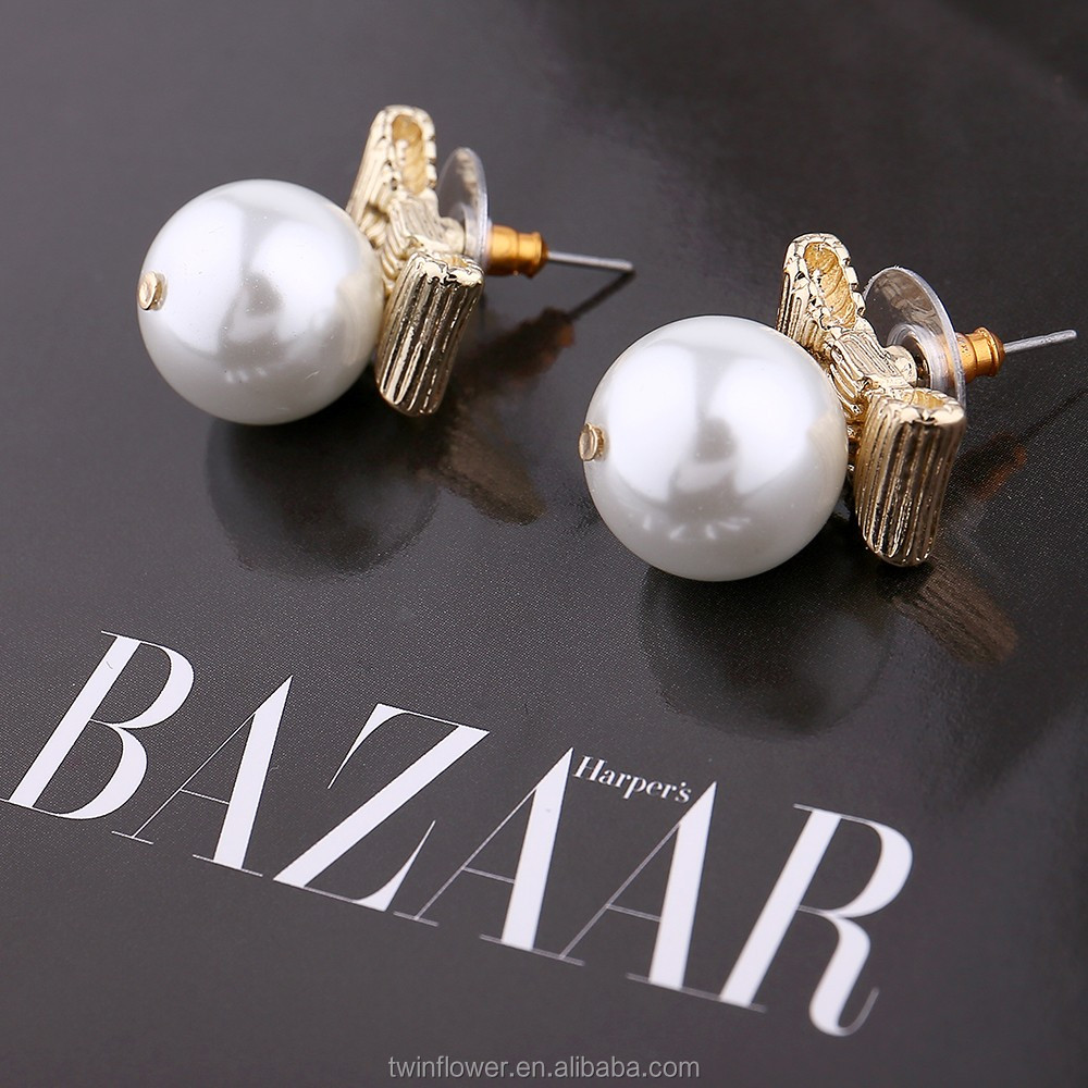 2017 New Silver Jewelry Simple Design Bow Tie Butterfly Knot Pearl Stud Earrings For Girls
