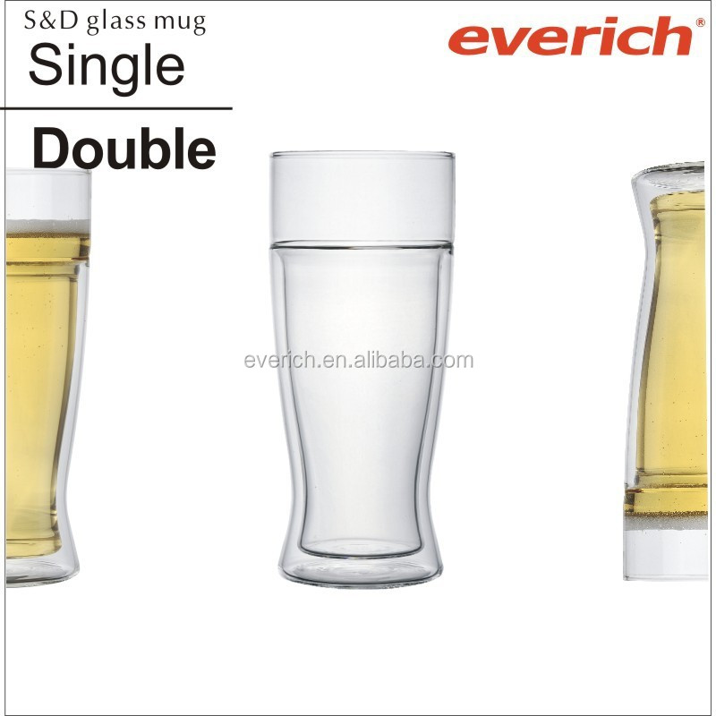 new design Beer Mugs Novelty Insulated Double Walled Glass Beer Mug