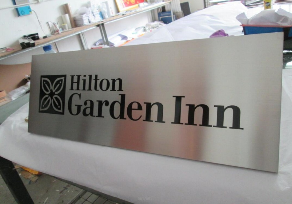 Hotel Decoration Brushed Stainless Steel Aluminum Doorplate Wall Plaques