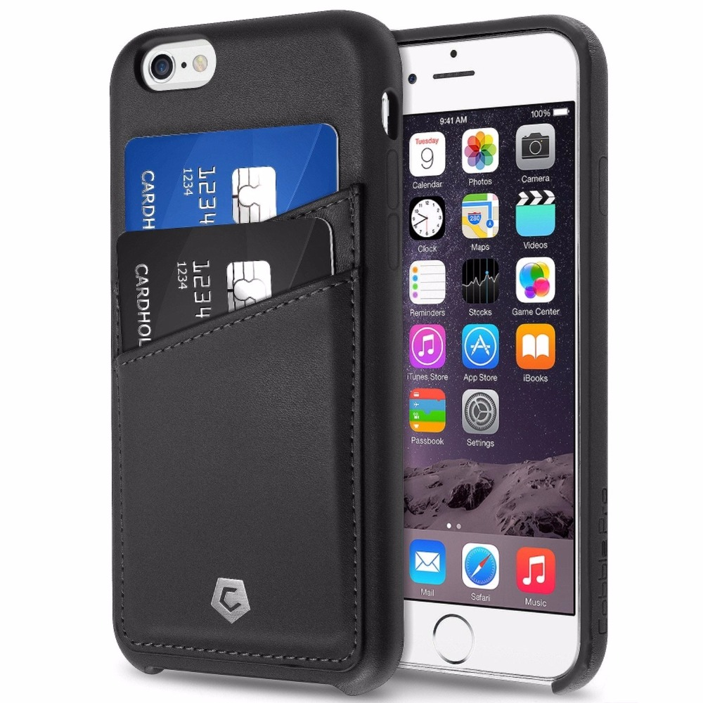 Leather Back Case Cover with ID Credit Card Slot Holder for Apple Phone 6S / Phone 6