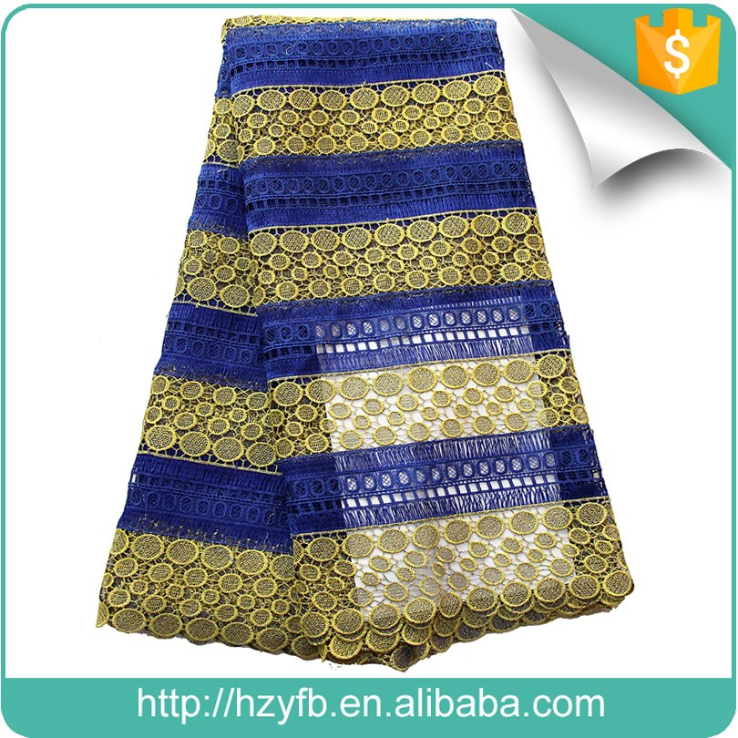 High quality embroidery guipure cord lace materials royal blue gold african lace fabric 5 yards
