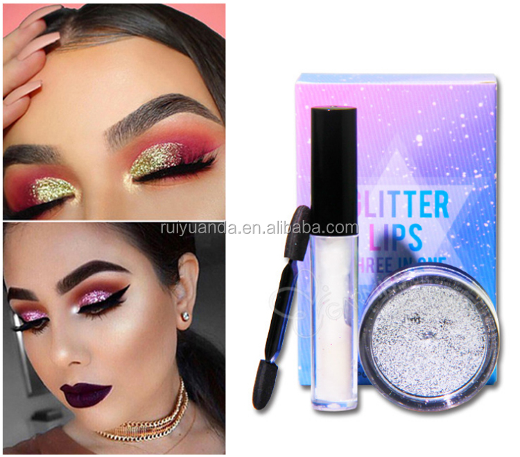 Cosmetic Glitter Makeup Eyeshadow Glitter Lips Three In One For Face Makeup