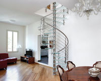 strong laminated glass tread spiral staircases with single post support