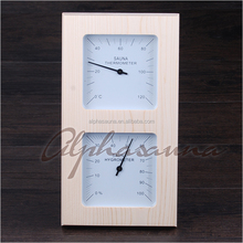 Vertical Spruce Pine New Design Sauna Thermometer and Hygrometer Wholesale Alpha Dry Sauna Room Accessories