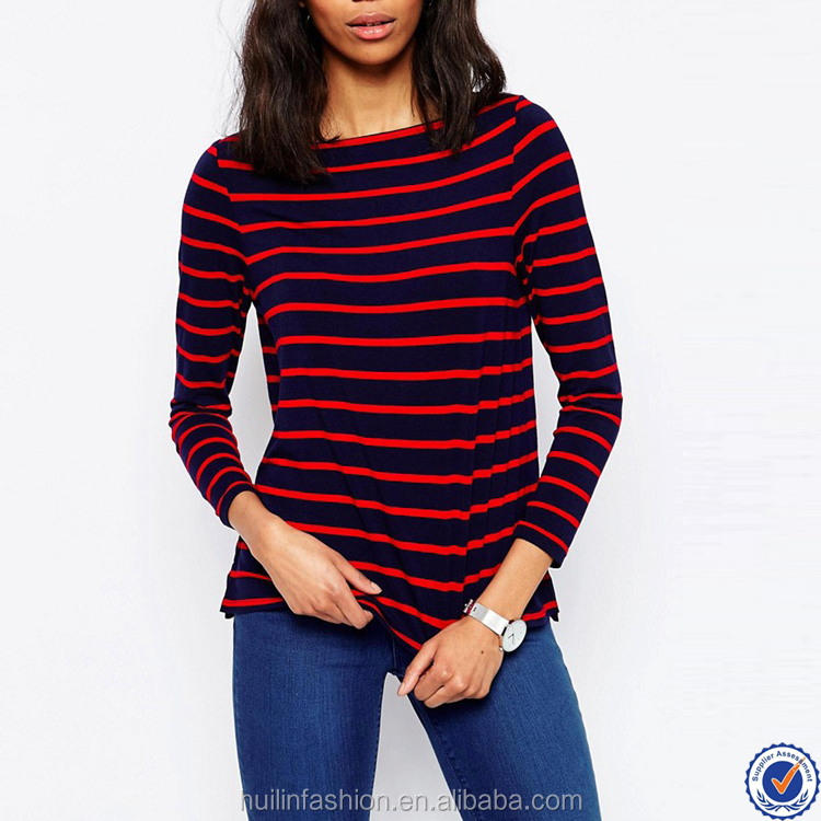 wholesale long sleeve quality womens t shirts boat neck black and red stripe t shirt for women