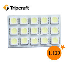 PCB 15SMD 5050 LED Auto Car Top Dome Light For Interior Reading Roof light with T10 BA9S S8.5 Festoon Bulb Adapter -WL