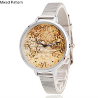 2017 Luxury Map Watch Ladies Silver Strap Stainless Steel Quartz Analog Wristwatch Women Relogio Clock