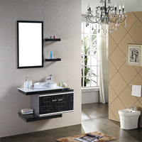 Space Saving Modern Wall Hung Stainless Steel Vanity Bathroom Cabinets