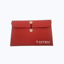 Felt Laptop Sleeve Case Cover Bag with Cute Wooden Button for 7.9-15.6 Inch MacBook Pro, Notebook Computer, Red