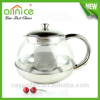 stainless steel tea pot with tea strainer / commercial pyrex glass tea pot