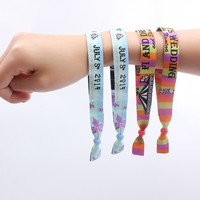 2016 cheap custom woven wristbands for event colorful logo fabric gift