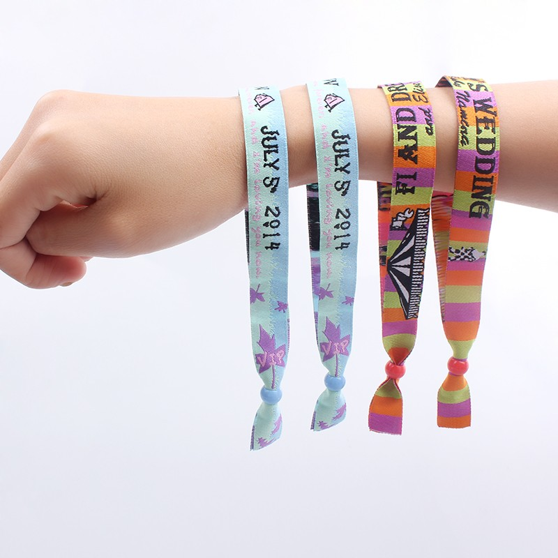 2018 cheap custom woven wristbands for event colorful logo fabric gift