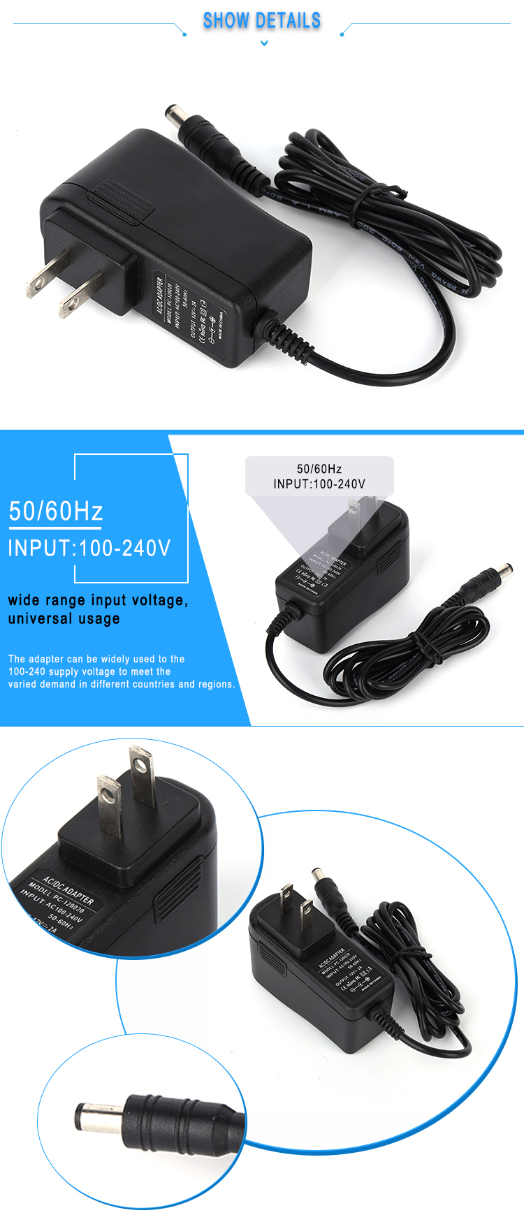US plug ac dc 9v 1.5a power supply