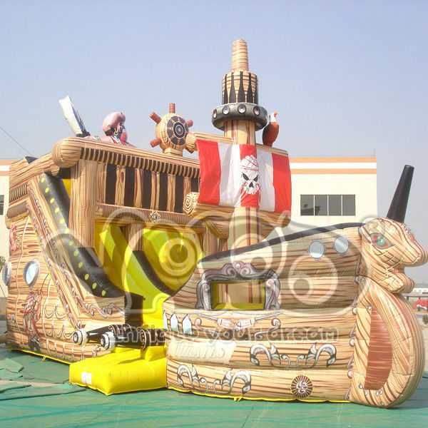 Giant inflatable pirate ship slide,pirate ship inflatable slide