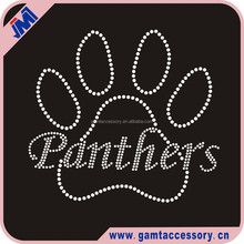 Panthers Paw Print Custom Rhinestone Iron On Transfer For T-Shirt Wholesale